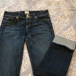 Hudson jeans with a cuffed leg.